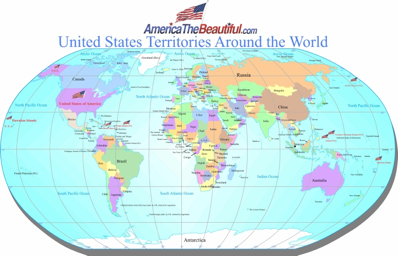 World Map United States Of America.Us Territories