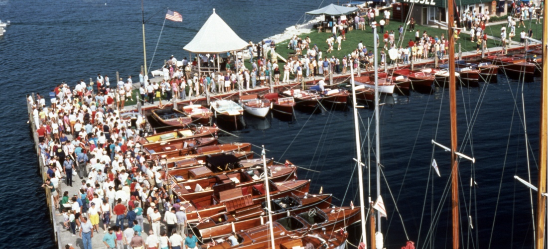 The Les Cheneaux Islands Antique Wooden Boat Show is held each year in Hessel, Michigan.