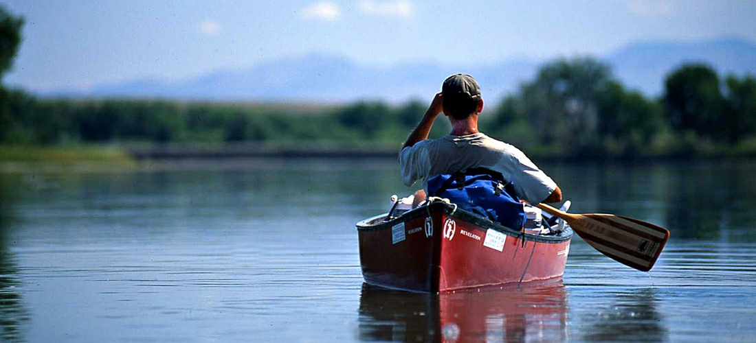 Canoeing in the waters of Montana.
