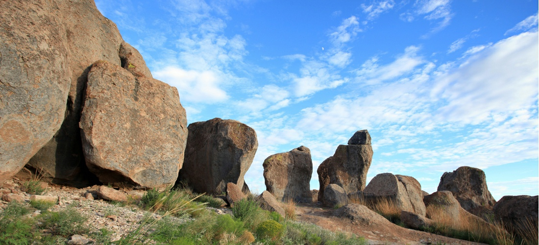 City of Rocks State Park is a popular state park of New Mexico,  consisting of large sculptured rock formations in the shape of pinnacles and boulders rising as high as 40 feet.  USA Travel Guide.