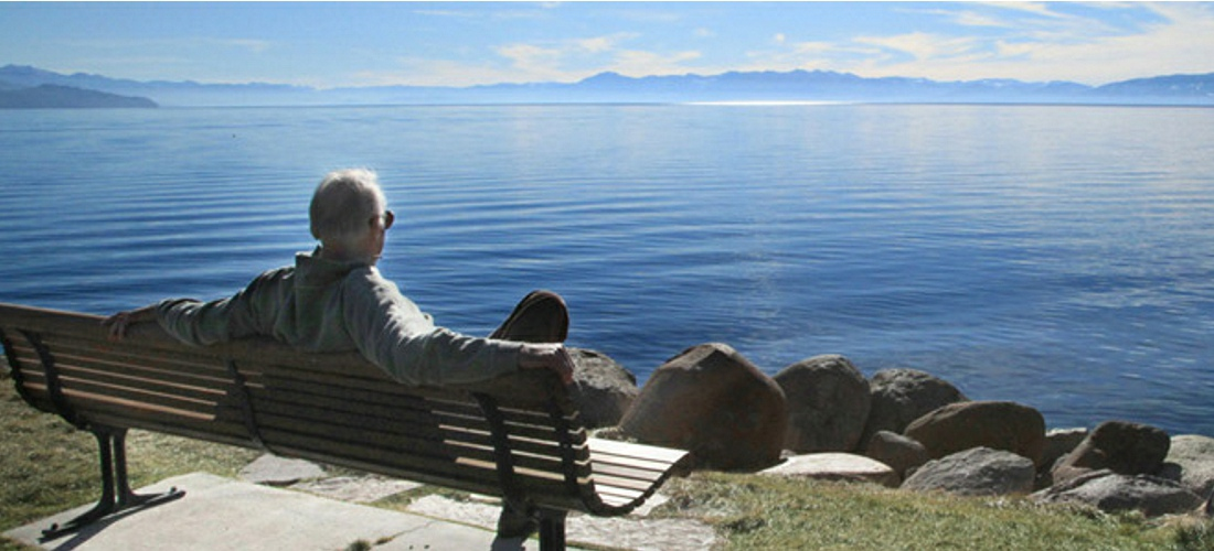 Relaxing on the beautiful shores of Lake Tahoe, Nevada.